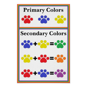 Paw Print Primary Secondary Color Chart Poster