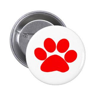Paw Print (Red) 2 Inch Round Button