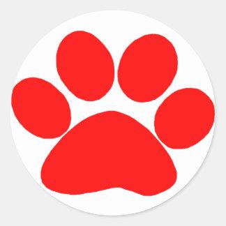Paw Print (Red) Classic Round Sticker