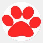 Paw Print (Red) Round Stickers