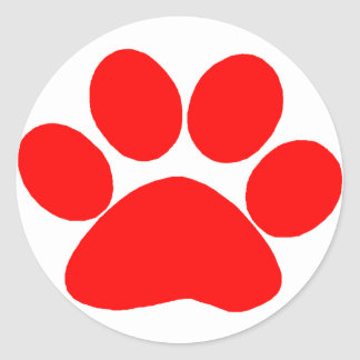 Paw Print (Red) Round Stickers