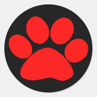 Paw Print Red Round Stickers