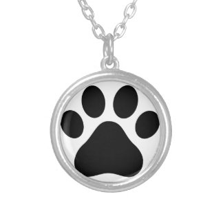 Paw print silver plated necklace
