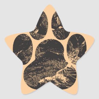 Paw Print Star Sticker