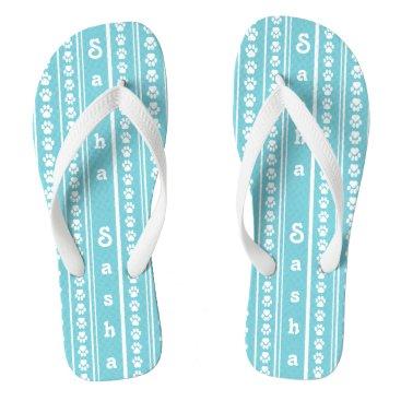 Beach Themed Paw Print Stripe and Name Flip-Flops Flip Flops
