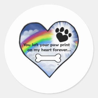 Paw Print Sympathy Poem Classic Round Sticker