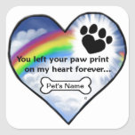 Paw Print Sympathy Poem Square Sticker
