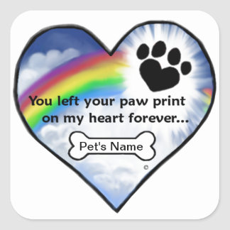 Paw Print Sympathy Poem Square Sticker