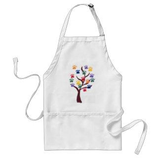 Paw Print Tree Design - Multi-Color Adult Apron