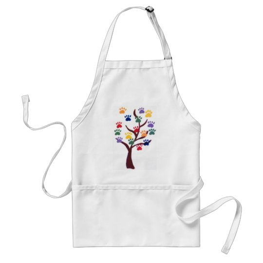 Paw Print Tree Design - Multi-Color Adult Apron