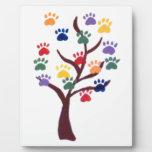 Paw Print Tree Design - Multi-Color Photo Plaque