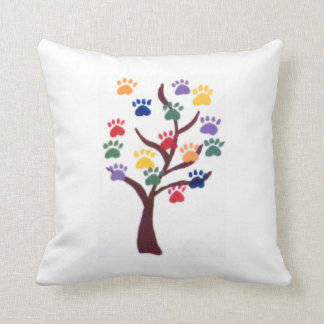 Paw Print Tree Design - Multi-Color Throw Pillow