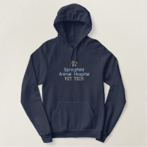 Paw Print Vet Tech Embroidered Hoodie