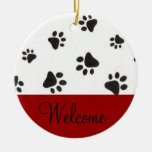 Paw Print Welcome Door Sign Double-Sided Ceramic Round Christmas Ornament