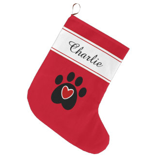 Paw Print with a Red Heart Large Christmas Stocking