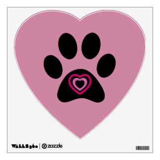 Paw Print with Hearts Wall Sticker