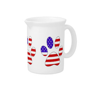 Paw Print with the American Flag Beverage Pitcher