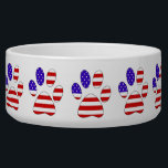 """Paw Print with the American Flag Bowl<br><div class=""""desc"""">This item contains a paw print that is filled with the American Flag. Perfect for any holiday or event where you want to celebrate independence or patriotism.</div>"""