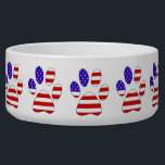 "Paw Print with the American Flag Bowl<br><div class=""desc"">This item contains a paw print that is filled with the American Flag. Perfect for any holiday or event where you want to celebrate independence or patriotism.</div>"