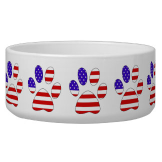 Paw Print with the American Flag Bowl