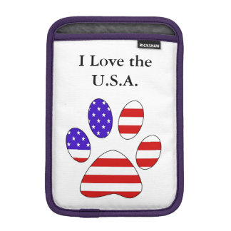 Paw Print with the American Flag Sleeve For iPad Mini