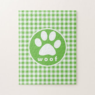 Paw Print; Woof; green gingham Puzzle