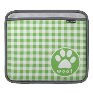 Paw Print; Woof; green gingham Sleeve For iPads