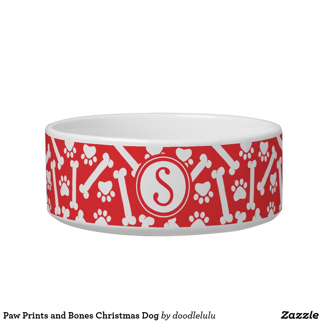 Paw Prints and Bones Christmas Dog Bowl