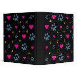 Paw Prints and Hearts 3 Ring Binder