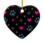 Paw Prints and Hearts Ceramic Ornament