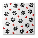 """Paw Prints and Hearts Ceramic Tile<br><div class=""""desc"""">Paw prints and hearts animal print design. Cute design that any animal lover will adore. Available on cmany ards,  gifts and home decor items in our shop!</div>"""