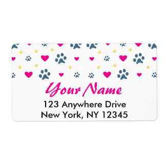 Paw Prints and Hearts Label