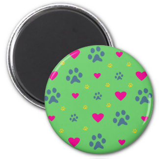 Paw Prints and Hearts Magnets