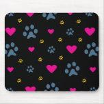 Paw Prints and Hearts Mouse Pad