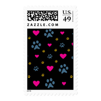 Paw Prints and Hearts Postage Stamps