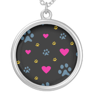 Paw Prints and Hearts Silver Plated Necklace
