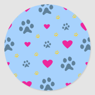 Paw Prints and Hearts Sticker