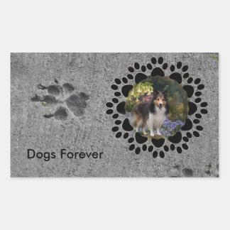 Paw Prints and Photo Rectangular Sticker