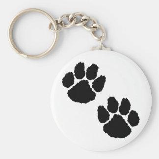 Paw Prints Basic Round Button Keychain