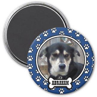 Paw Prints Blue Pet Photo Magnet