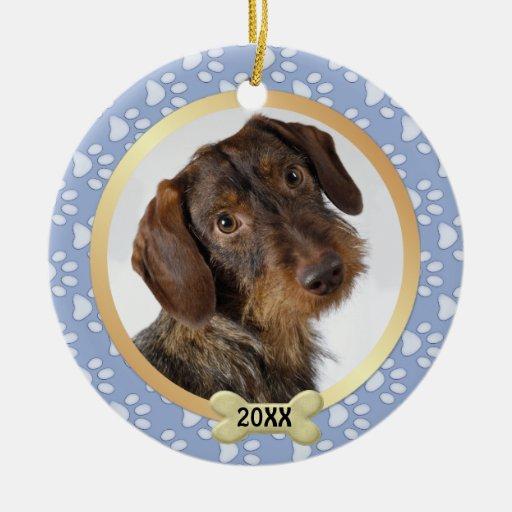 Paw Prints Blue Pet Photo Ornament