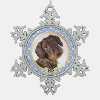 Paw Prints Blue Pet Photo Snowflake Ornament