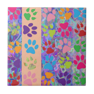 Paw Prints Ceramic Tile