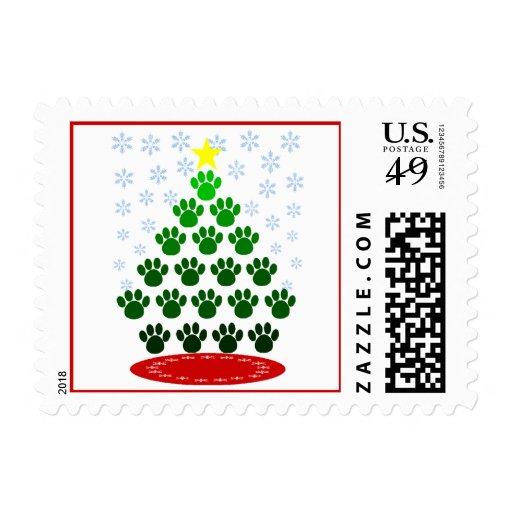 Paw Prints Christmas Tree Postage