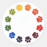 Paw Prints Circle Classic Round Sticker