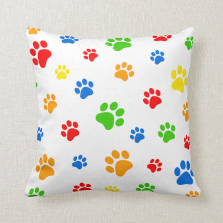 Paw prints colorful pillow