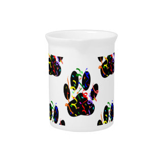 Paw Prints Confetti And Party Streamer Pattern Pitcher