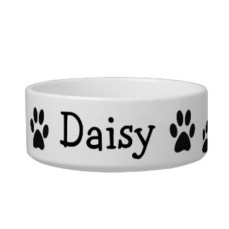 Paw Prints Custom Dish Cat Water Bowl