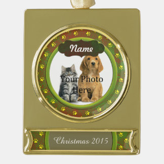 Paw Prints Custom Greenish Red Gold Plated Banner Ornament