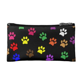 Paw prints dog pet fun colorful cute pawprints cosmetic bags
